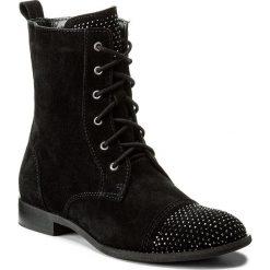 Botki NEŚCIOR - 013-F Czarny Welur. Czarne buty zimowe damskie Neścior, z materiału, na obcasie. W wyprzedaży za 279,00 zł.