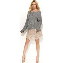 Swetry damskie: Szary Sweter Melanżowy z Warkoczami