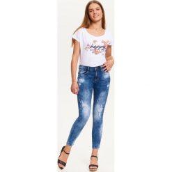 Spodnie damskie: SPODNIE JEANSOWE DAMSKIE Z PRZETARCIAMI, RURKI