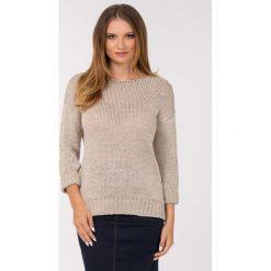Swetry klasyczne damskie: Ażurowy sweter z akrylu