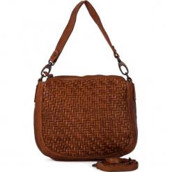 Skórzana torebka w kolorze jasnobrązowym - 22 x 27 x 8 cm. Brązowe torebki klasyczne damskie neropantera, w paski, z materiału. W wyprzedaży za 363,95 zł.