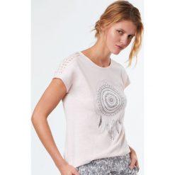 Etam - Top piżamowy Reine. Niebieskie piżamy damskie marki Etam, l, z bawełny. W wyprzedaży za 49,90 zł.