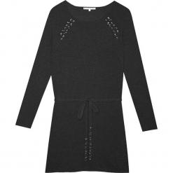 Sukienka kaszmirowa w kolorze czarnym. Czarne sukienki na komunię Ateliers de la Maille, na imprezę, z aplikacjami, z kaszmiru, midi. W wyprzedaży za 591,95 zł.