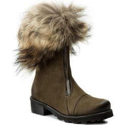Botki R.POLAŃSKI - 0891/K Oliwka Nubuk. Czarne buty zimowe damskie marki R.Polański, ze skóry, na obcasie. W wyprzedaży za 389,00 zł.