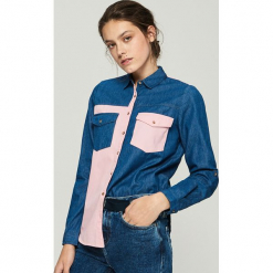 Koszula z łączonych materiałów - Niebieski. Niebieskie koszule damskie marki Sinsay, l, z materiału. Za 79,99 zł.