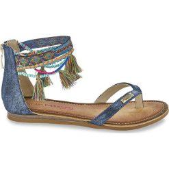 Sandały-japonki Gringa. Brązowe klapki damskie marki Born2be, z materiału, na obcasie. Za 272,96 zł.