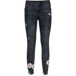 """Dżinsy z haftem bonprix czarny """"stone"""". Czarne jeansy damskie bonprix. Za 159,99 zł."""