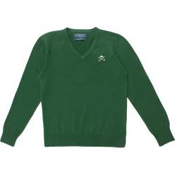 Sweter w kolorze zielonym. Zielone swetry chłopięce marki Polo Club Women & Kids, z haftami, z okrągłym kołnierzem. W wyprzedaży za 108,95 zł.