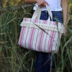 Kremowa torebka w różowe pasy limitowana. Białe torebki klasyczne damskie Pakamera. Za 110,00 zł.