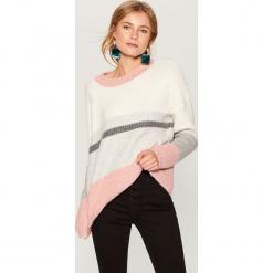 Sweter oversize w pasy - Kremowy. Białe swetry oversize damskie Mohito, l. Za 129,99 zł.
