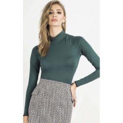 Swetry damskie: Zielony Golf Basic z Koronkową Wypustką
