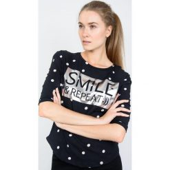 BLUZKA W GROCHY SMILE. Niebieskie bluzki dziewczęce z długim rękawem marki bonprix, z wełny, długie. Za 39,99 zł.