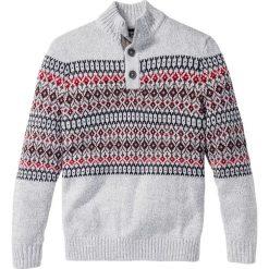 Sweter z plisą guzikową Regular Fit bonprix szary melanż. Szare golfy męskie marki bonprix, m, melanż. Za 44,99 zł.