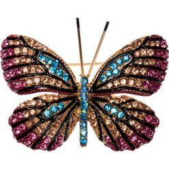 Apaszki damskie: Broszka motyl różowo-błękitna QUIOSQUE