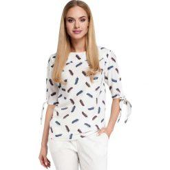 Ecru Bluzka z Rozcięciem i Wiązaniem na Rękawach Model 2. Białe bluzki z odkrytymi ramionami marki Molly.pl, l, z tkaniny, biznesowe, z krótkim rękawem. Za 109,90 zł.