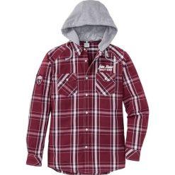 Koszula z długim rękawem i odpinanym kapturem Regular Fit bonprix czerwony klonowy w kratę. Czerwone koszule męskie na spinki marki Cropp, l, z kapturem. Za 59,99 zł.