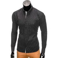 KOSZULA MĘSKA ELEGANCKA Z DŁUGIM RĘKAWEM K326 - CZARNA. Brązowe koszule męskie marki Ombre Clothing, m, z aplikacjami, z kontrastowym kołnierzykiem, z długim rękawem. Za 39,00 zł.