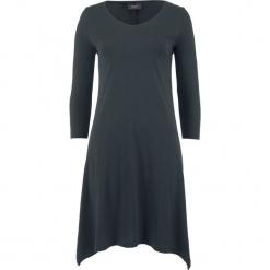 Sukienka shirtowa bawełniana z przędzy mieszankowej, rękawy 3/4 bonprix czarny. Czarne sukienki z falbanami bonprix, z bawełny. Za 89,99 zł.