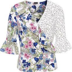 Bluzka kopertowa z falbanami bonprix biały w kolorowy wzór. Białe bluzki asymetryczne bonprix, w kolorowe wzory, z kopertowym dekoltem. Za 59,99 zł.