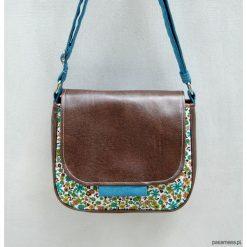 BAMBI - mała torebka - turkusowa łączka i brąz. Niebieskie torebki klasyczne damskie marki Pakamera, z bawełny, małe. Za 129,00 zł.