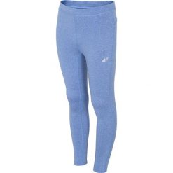 Legginsy sportowe dla dużych dziewcząt JLEG401 - NIEBIESKI MELANŻ. Niebieskie legginsy dziewczęce marki 4F JUNIOR, melanż, z dzianiny. Za 29,99 zł.