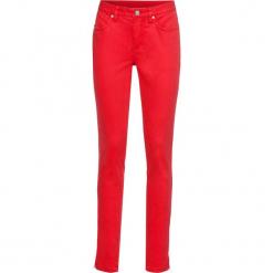 Spodnie ze stretchem SKINNY bonprix truskawkowy. Czerwone rurki damskie bonprix. Za 59,99 zł.