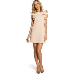 SIENNA Mini sukienka bez rękawów z falbanami - beżowa. Brązowe sukienki mini marki Moe, l, z bawełny. Za 154,90 zł.