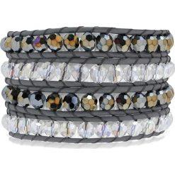 Bransoletki damskie: Skórzana bransoletka ze szklanymi kryształkami