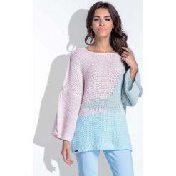 Swetry damskie: Trójkolorowy Pistacjowa Sweter Damski Typu Nietoperz