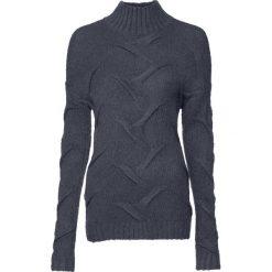Sweter  w warkocze bonprix ciemnoszary. Szare swetry klasyczne damskie bonprix, z dzianiny. Za 99,99 zł.