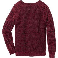 Swetry męskie: Sweter w strukturalny wzór Regular Fit bonprix bordowy melanż