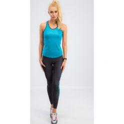 Grafitowe legginsy z niebieskim napisem 13930. Niebieskie legginsy we wzory Fasardi, l. Za 59,00 zł.