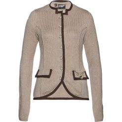 Sweter rozpinany ludowy z domieszką wełny bonprix kamienisto-brązowy. Szare golfy damskie bonprix, z materiału. Za 89,99 zł.
