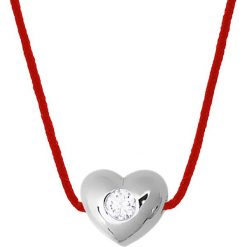 Naszyjniki damskie: Naszyjnik w kolorze czerwonym z diamentami – dł. 42 cm