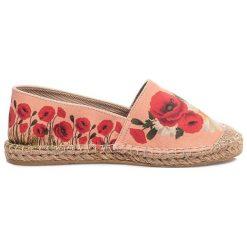 Espadryle damskie: Espadryle w kolorze brzoskwiniowo-czerwonym ze wzorem