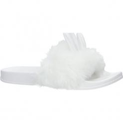 Białe klapki z futerkiem i uszkami Casu SAM03A. Białe klapki damskie marki Casu. Za 39,99 zł.