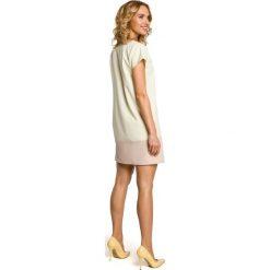 DAKOTA Dwukolorowa mini sukienka z krótkim rękawem - żółta. Żółte sukienki mini marki Moe, z krótkim rękawem, dopasowane. Za 129,99 zł.