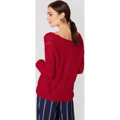 Swetry damskie: MANGO Sweter z dekoltem V - Red