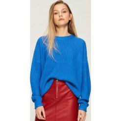 Swetry oversize damskie: Sweter oversize - Niebieski