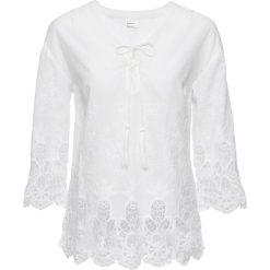 Bluzki asymetryczne: Bluzka bonprix biel wełny