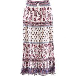 Spódniczki: Długa spódnica bonprix biel wełny z nadrukiem