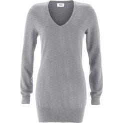 Długi sweter bonprix szary melanż. Szare swetry klasyczne damskie marki bonprix, z dzianiny. Za 59,99 zł.