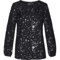 Bluzka bonprix czarny. Czarne bluzki longsleeves marki bonprix, z nadrukiem, z dekoltem w serek. Za 89,99 zł.