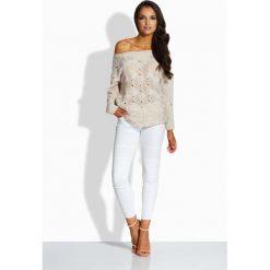 Swetry oversize damskie: Beżowy Sweter z Ażurowym Wzorem