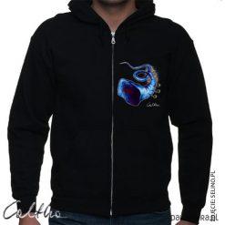 Niebieska trąbka - bluza rozpinana unisex. Czarne bluzy męskie rozpinane marki Pakamera, m, z kapturem. Za 149,00 zł.