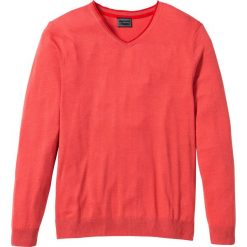 Swetry klasyczne męskie: Sweter z kaszmirem i dekoltem w serek, Regular Fit bonprix koralowy