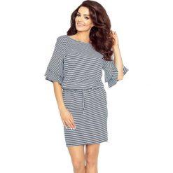 Sukienki: Damita urocza sukienka z modnymi rękawami PASKI GRANAT/BIEL 0,5X0,5