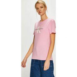Calvin Klein Jeans - Top. Szare topy damskie marki Calvin Klein Jeans, s, z nadrukiem, z bawełny, z okrągłym kołnierzem. Za 199,90 zł.