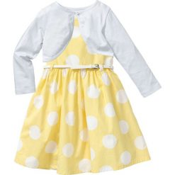 Sukienki dziewczęce z falbanami: Sukienka + pasek + bolerko (3 części) bonprix jasnożółto-biały w groszki