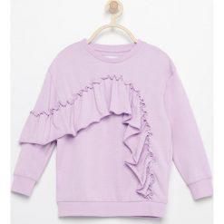 Bluzy dziewczęce: Bluza z asymetryczną falbaną - Fioletowy